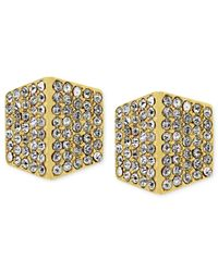 Vince Camuto | Metallic Gold-tone Crystal Pave Geometric Stud Earrings | Lyst