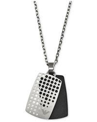 Emporio Armani - Metallic Stainless Steel Dog Tag Necklace Egs2010040 for Men - Lyst