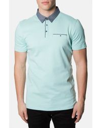 7 Diamonds | Green 'Collider' Trim Fit Contrast Trim Interlock Knit Polo for Men | Lyst
