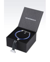Emporio Armani - Blue Bracelet And Earrings In Silver - Lyst