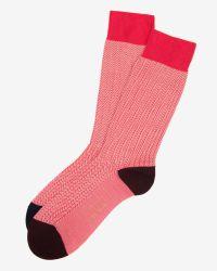Ted Baker - Pink Herringbone Print Socks - Lyst