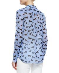 kate spade new york - Blue Cat-Print Silk Blouse - Lyst
