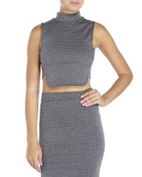 Re:named - Gray Houndstooth Crop Top - Lyst