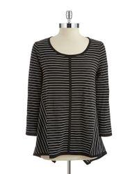 Jones New York - Black Asymmetrical Striped Top - Lyst