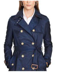 Lauren by Ralph Lauren | Blue Double-Breasted Trench Coat | Lyst