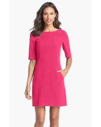 Tahari | Pink Seamed A-line Dress (petite) | Lyst