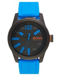 BOSS Orange - Blue 'paris' Silicone Strap Watch for Men - Lyst