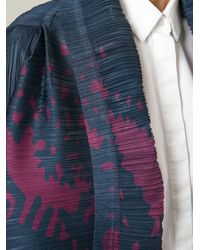 Pleats Please Issey Miyake Blue Pleated Cardigan