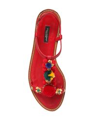 Dolce & Gabbana - Red 10mm Pompom Leather T-strap Sandals - Lyst