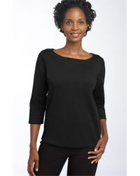 Eileen Fisher | Black Ballet Neck Three Quarter Sleeve Top | Lyst