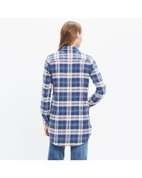 Madewell | Blue Rivet & Thread Flannel Slim Tunic Shirt In Hailey Plaid | Lyst