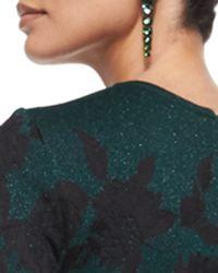 St. John - Green Graduated Crystal Drop Earrings - Lyst