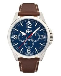 Lacoste - Blue 'montreal' Round Leather Strap Watch for Men - Lyst