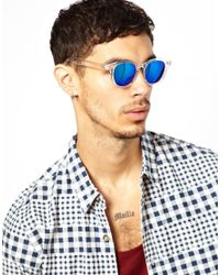 ASOS | Blue Preppy Wayfarer Sunglasses with Clear Frame and Colour Mirror Lens for Men | Lyst