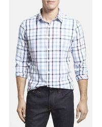 Victorinox | Blue Tailored Fit Plaid Cotton & Linen Sport Shirt for Men | Lyst