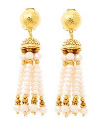 Jose & Maria Barrera Metallic Pastel Pink Tassel Clipon Earrings