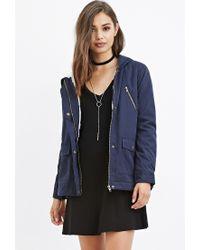 Forever 21 | Blue Hooded Plush Jacket | Lyst
