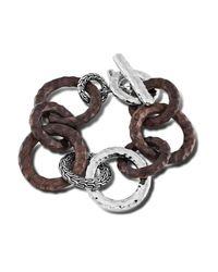 John Hardy - Brown Link Bracelet With Rose Wood - Lyst