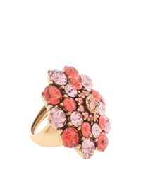 Oscar de la Renta | Pink Jeweled Floral Ring | Lyst