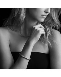 David Yurman | Metallic Sculpted Cable Bracelet With Diamonds In Gold | Lyst
