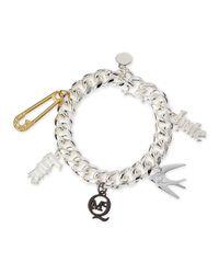 McQ | Metallic Shiny Silvertone Love/Hate Charm Bracelet | Lyst