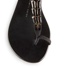 Giuseppe Zanotti - Black Jeweled Suede Thong Sandals - Lyst