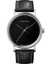 Georg Jensen | Gray Koppel Stainless Steel And Leather Watch 38mm | Lyst