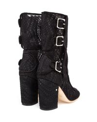 Laurence Dacade - Black Suede Ankle Boots With Macramé Lace - Lyst