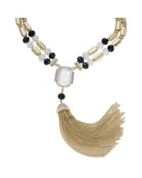 INC International Concepts | Metallic Goldtone Black and White Stone Tassel Necklace | Lyst