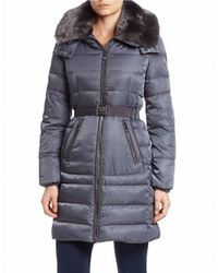 Vince Camuto | Gray Convertible Faux Fur-trimmed Quilted Coat | Lyst