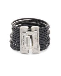 Uno De 50 - Black Multi Strand Leather Cuff Bracelet - Lyst