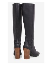 Express Black Stacked Heel Tall Boot