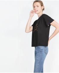 Zara | Black Ribbed Text T-shirt | Lyst