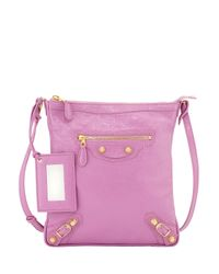 Balenciaga - Pink Giant 12 Golden Flat Cross-Body Bag - Lyst