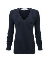 Henri Lloyd | Blue Beatrice Cable V Neck Knit | Lyst