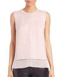 VINCE | Pink Sleeveless Overlay Silk Tank Top | Lyst