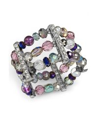 Style & Co. - Silvertone Crystal and Metallic Bead Threerow Stretch Bracelet - Lyst