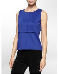 Calvin Klein | Blue White Label Seamed Sleeveless Top | Lyst