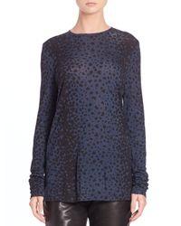 VINCE | Blue Leopard-print Crewneck Top | Lyst