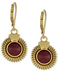 Vince Camuto | Red Gold-tone Round Stone Drop Earrings | Lyst