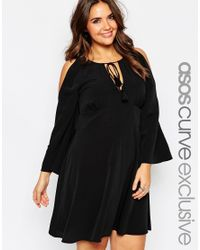 ASOS | Black Curve Cold Shoulder Babydoll Dress With Tassles | Lyst