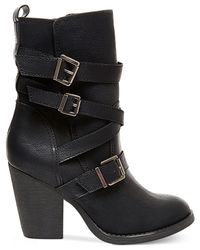 Madden Girl | Black Kloo Buckle Booties | Lyst