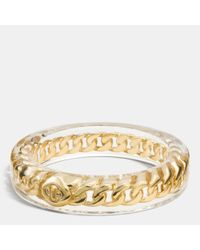 COACH | Metallic Turnlock Curbchain Resin Bangle | Lyst