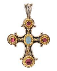 Konstantino | Multicolor Aquamarine Pink Tourmaline Cross Pendant | Lyst
