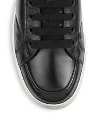 Prada | Black Leather High-top Sneakers for Men | Lyst