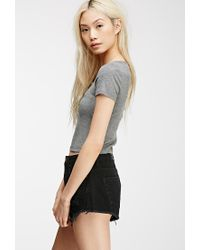 Forever 21 - Gray Henley Crop Top - Lyst