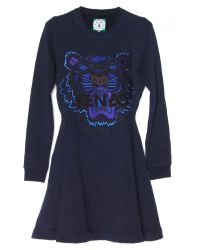 KENZO - Black Icon Cotton Sweatshirt Dress  - Lyst