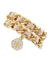 Tory Burch - Metallic Woven Leather Chain Wrap Bracelet - Lyst
