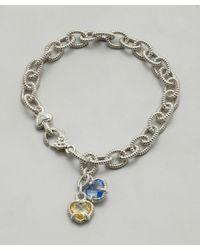 Judith Ripka | Metallic Canary Crystal and Blue Quartz Stone Linen Charm Bracelet | Lyst