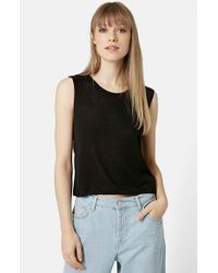 TOPSHOP | Black Cutoff Tank Top | Lyst